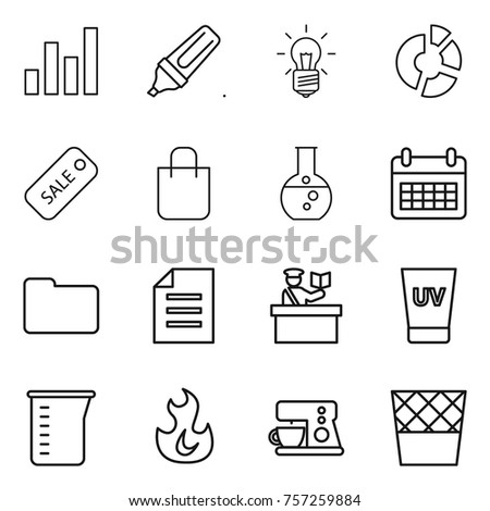 Thin line icon set graph marker stock vector 757259884 shutterstock thin line icon set graph marker bulb circle diagram sale ccuart Images