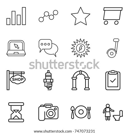 stock vector thin line icon set graph star delivery notebook discussion sun power segway shop signboard 747073231 plug spoon stock images, royalty free images & vectors shutterstock  at creativeand.co