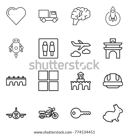 Thin line icon set heart truck stock vector 774534451 shutterstock thin line icon set heart truck brain rocket jet robot ccuart Images