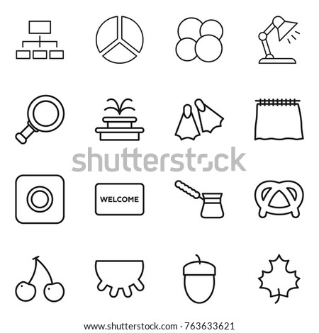 Thin line icon set truck diagram stock vector 765666679 shutterstock thin line icon set hierarchy diagram atom core table lamp magnifier ccuart Choice Image