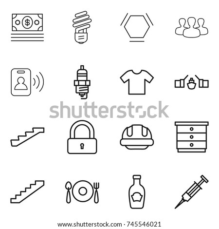 stock vector thin line icon set money bulb hex molecule group pass card spark plug t shirt drawbridge 745546021 plug spoon stock images, royalty free images & vectors shutterstock  at creativeand.co