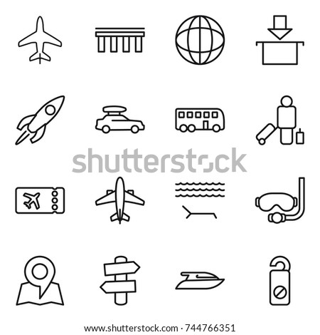 thin line icon set : plane, bridge, globe, package, rocket, car baggage, bus, passenger, ticket, airplane, lounger, diving mask, map, signpost, yacht, do not distrub