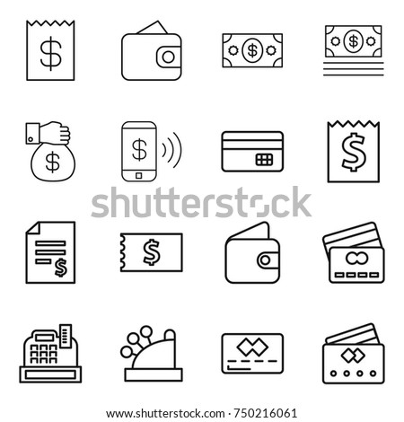 thin line icon set receipt wallet stock vector royalty free