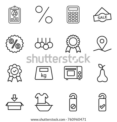 thin line icon set report percent stock vector royalty free