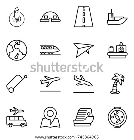 thin line icon set : rocket, dome house, road, sea shipping, earth, train, deltaplane, baggage checking, suitcase, departure, arrival, palm, transfer, map, cruise ship, compass