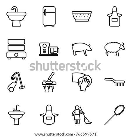 Thin Line Icon Set : Sink, Fridge, Colander, Apron, Double Boiler,