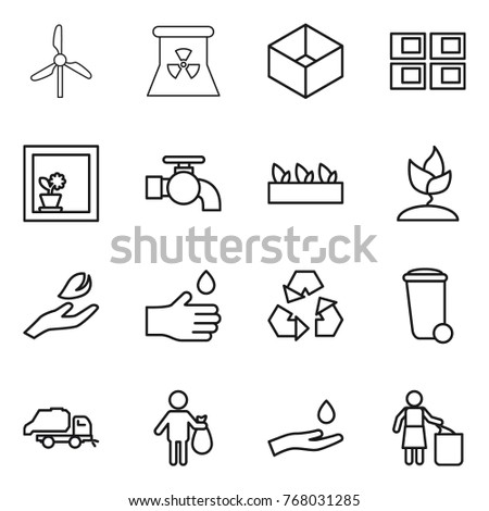 Thin line icon set : windmill, nuclear power, box, panel house, flower in window, water tap, seedling, sprouting, hand leaf, drop, recycling, trash bin, truck, and, garbage