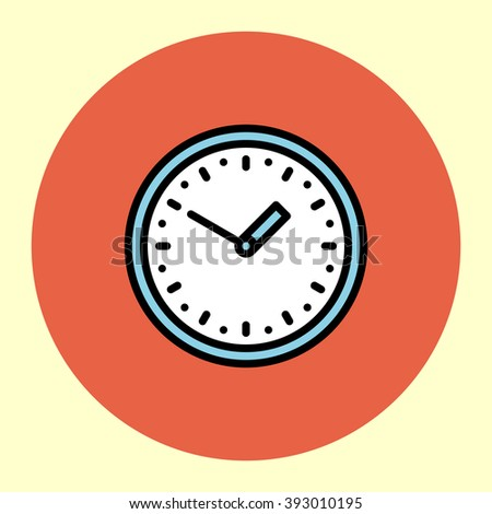 Thin Line Icon. Wall Clock. Simple Trendy Modern Style Round Color Vector Illustration.  - stock vector
