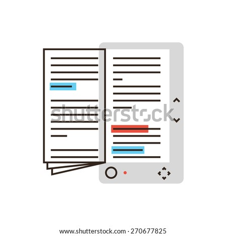 Thin line icon with flat design element of abstract e-book, electronic reader book, read text in ebook, learning digital literature, tutorial reading. Modern style logo vector illustration concept. - stock vector