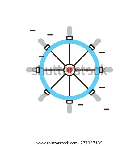 Thin line icon with flat design element of boat steering wheel, rudder on yacht or cruise ship, handle on helm, navigation control for nautical vessel. Modern style logo vector illustration concept. - stock vector