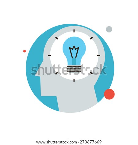 Thin line icon with flat design element of bright idea in human head, success human solution, lightbulb lamp, eureka in problem solving. Modern style logo vector illustration concept. - stock vector