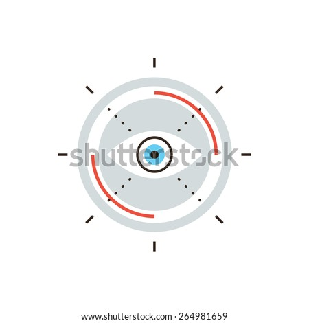 Thin line icon with flat design element of business vision, search mission target, innovative look to future, abstract eyesight view. Modern style logo vector illustration concept. - stock vector