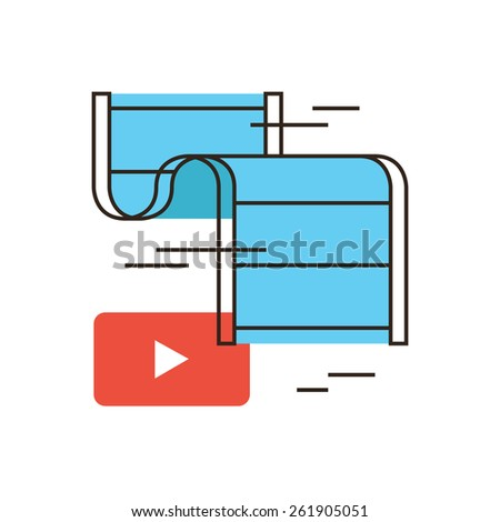 Thin line icon with flat design element of button play, live stream, video player, media clip, watch film, reel of film, demonstration filmstrip. Modern style logo vector illustration concept. - stock vector