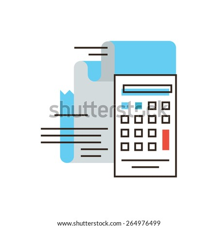 Thin line icon with flat design element of calculation tax, financial income, capital accumulation, paper receipt, payment on account, business market. Modern style logo vector illustration concept. - stock vector