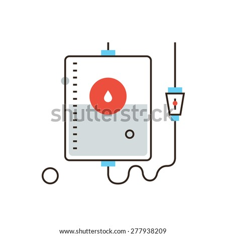 Thin line icon with flat design element of charity blood donation, emergency first aid, hospital care, medication transfusion, support of life. Modern style logo vector illustration concept. - stock vector