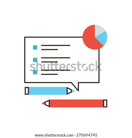 Thin line icon with flat design element of checklist analysis, market monitoring, survey list, feedback form, poll questions, marketing research. Modern style logo vector illustration concept. - stock vector