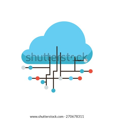 Thin line icon with flat design element of cloud computing connection, internet hosting technology, data link communication, network server storage. Modern style logo vector illustration concept. - stock vector