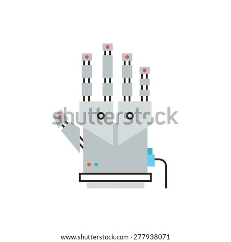 Thin line icon with flat design element of cyber glove for virtual reality, innovative digital input device, robotic hand for entertainment technology. Modern style logo vector illustration concept. - stock vector