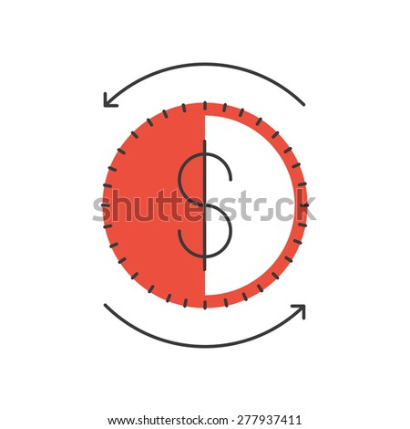 Thin line icon with flat design element of dollar coin, money circulation, financial turnover, business market, global stock exchange. Modern style logo vector illustration concept. - stock vector