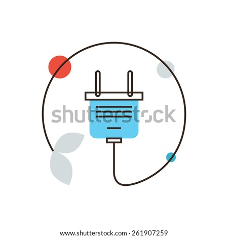 Thin line icon with flat design element of energy saving, electric power, ecology safety, power cord plug, efficiency electricity, save resources. Modern style logo vector illustration concept. - stock vector