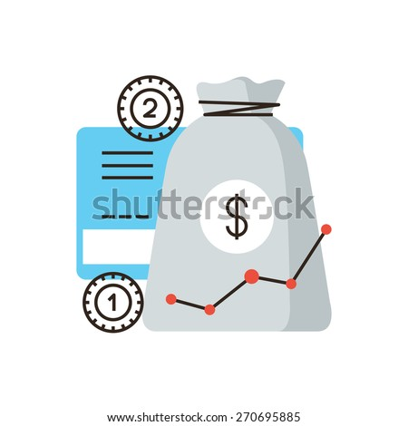 Thin line icon with flat design element of financial investment, banking investing, growth income, accumulation of bank funds, money saving profit. Modern style logo vector illustration concept. - stock vector