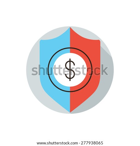 Thin line icon with flat design element of financial security concept, money transfer secure payment, business insurance, protection shield for dollar. Modern style logo vector illustration concept. - stock vector