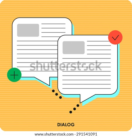 Thin line icon with flat design element of frequently asked questions, support service representative, FAQ information to help clients, speech bubbles. Vector illustration. - stock vector