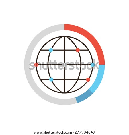 Thin line icon with flat design element of global data graph and diagram, world network connection, worldwide analysis, internet communication dots. Modern style logo vector illustration concept. - stock vector