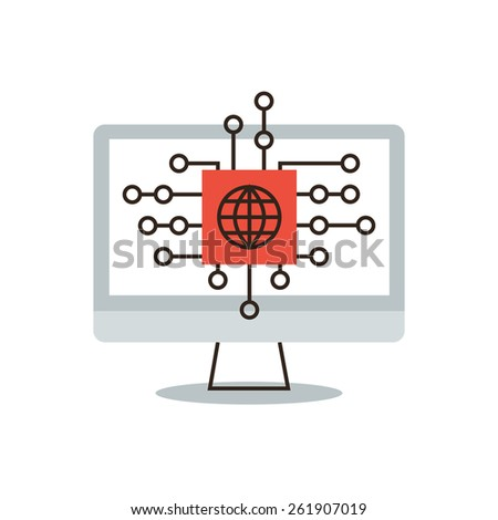 Thin line icon with flat design element of global network, internet connection, business communicate, global coverage, virtual world, remote access. Modern style logo vector illustration concept. - stock vector