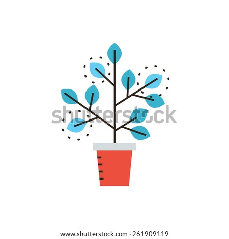 Thin line icon with flat design element of grow business, sprouting seedling, growth process, prospect of future, expansion of company, potted plant. Modern style logo vector illustration concept. - stock vector