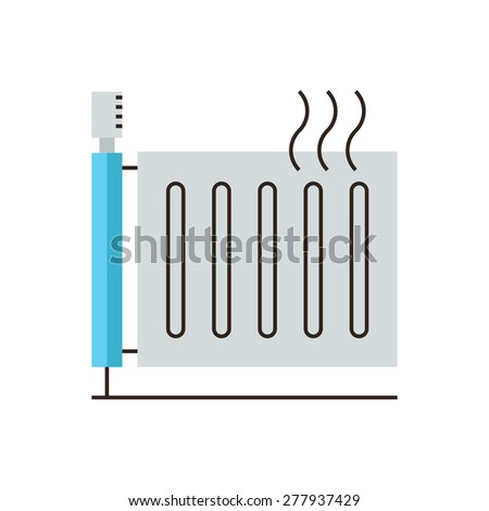 Thin line icon with flat design element of heating radiator, temperature regulator, central heat, warm system, thermo appliance, domestic heater. Modern style logo vector illustration concept. - stock vector