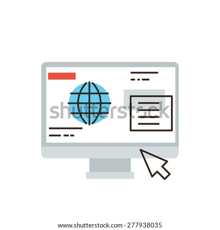 Thin line icon with flat design element of internet business communication, website browser window interface, computer global network connection. Modern style logo vector illustration concept. - stock vector