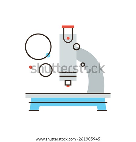 Thin line icon with flat design element of medical microscope, chemical analysis, scientific discovery, research new, laboratory equipment. Modern style logo vector illustration concept. - stock vector