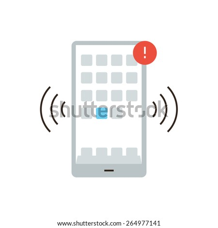 Thin line icon with flat design element of mobile communication, smartphone apps, alert notification, alarm signal, phone message. Modern style logo vector illustration concept. - stock vector