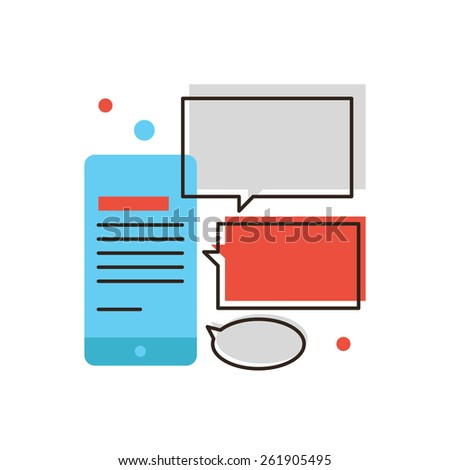 Thin line icon with flat design element of mobile messaging, phone message, online chat, internet correspondence, interface smartphone, social network. Modern style logo vector illustration concept. - stock vector