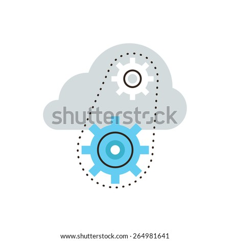 Thin line icon with flat design element of network technology, cloud computing, technical server, operating mechanism, working systems. Modern style logo vector illustration concept. - stock vector