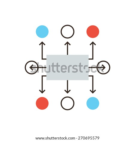 Thin line icon with flat design element of organization flow chart, planning workflow, algorithm for development process, structure of operation. Modern style logo vector illustration concept. - stock vector