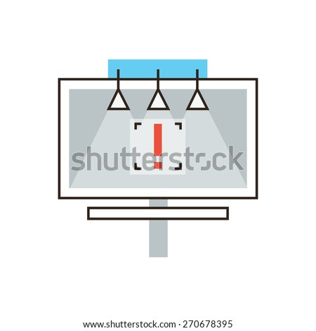 Thin line icon with flat design element of outdoor billboard advertising, advertisement space for commercial, marketing promotion on large board. Modern style logo vector illustration concept. - stock vector