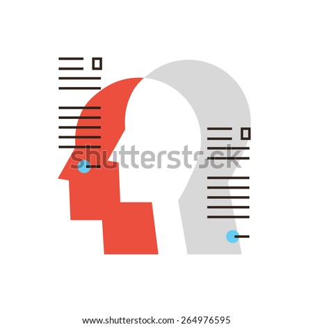Thin line icon with flat design element of personal information, profile people, business team workers, management employee, human resource organization. Modern style logo vector illustration concept. - stock vector