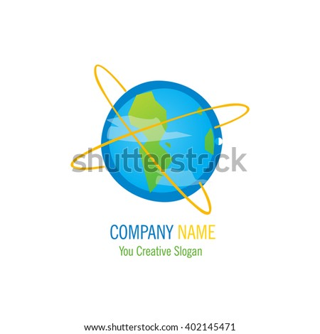 Thin line icon with flat design element of planet Earth, travel around the world, celestial body, astronomical orbit, view from space. Modern style logo vector illustration concept. - stock vector