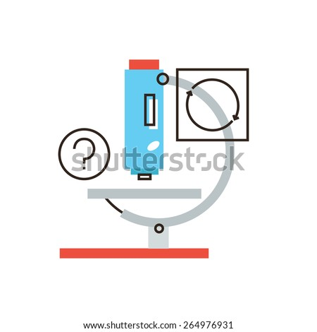 Thin line icon with flat design element of scientific analysis, medical microscope, lab test, laboratory instrument, research molecular level. Modern style logo vector illustration concept. - stock vector