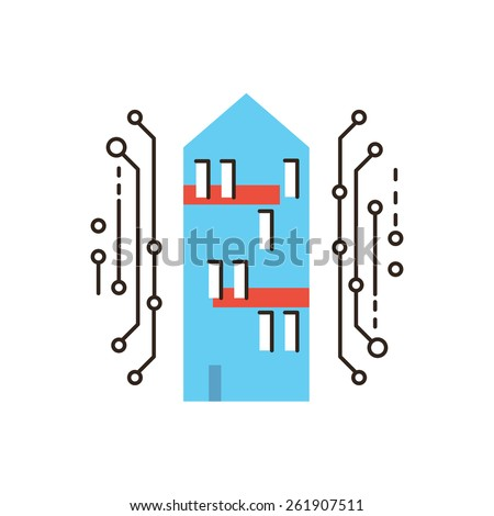 Thin line icon with flat design element of smart home, digital house, internet connection, future innovations, housing communication. Modern style logo vector illustration concept. - stock vector
