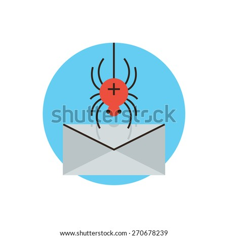 Thin line icon with flat design element of spyware attack email, protection against malware, internet virus accessing computer mail, web security breach. Modern style logo vector illustration concept. - stock vector