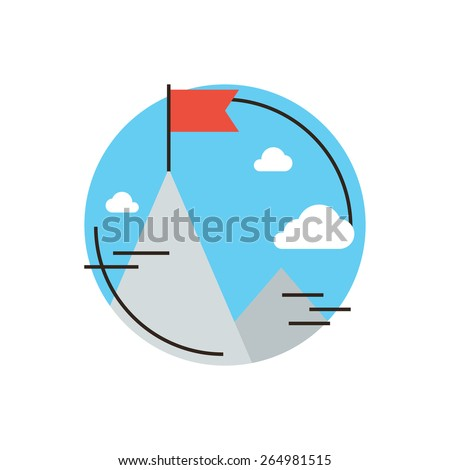 Thin line icon with flat design element of success business goal, flag at mountain peak top, challenge achievement, successful leadership of mission. Modern style logo vector illustration concept. - stock vector
