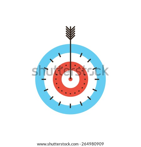 Thin line icon with flat design element of success targeting, direct target hit, successful shot, maximum result, market goal, top score, game of darts. Modern style logo vector illustration concept. - stock vector