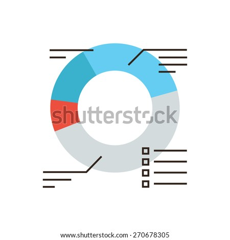 Thin line icon with flat design element of successful sales chart, market statistics, corporate diagram, annual financial statement report. Modern style logo vector illustration concept. - stock vector