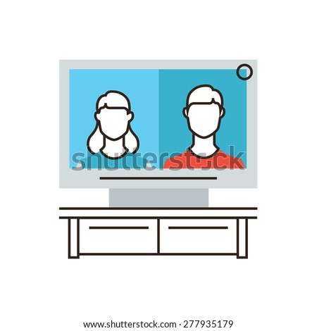Thin line icon with flat design element of telepresence video conference system, virtual connection people, videotelephony advanced technologies. Modern style logo vector illustration concept. - stock vector