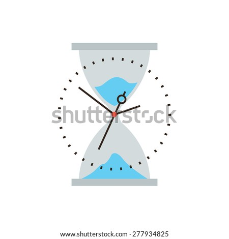 Thin line icon with flat design element of time is running out, business management, hourglass sand flow, timing control and optimization. Modern style logo vector illustration concept. - stock vector