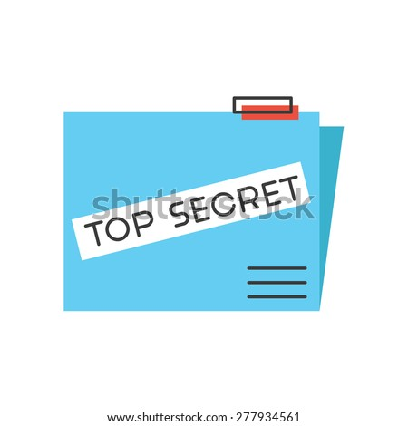Thin line icon with flat design element of top secret folder, fbi confidential report, high classified data files, government archive information. Modern style logo vector illustration concept. - stock vector