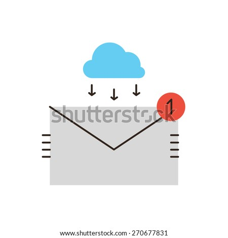 Thin line icon with flat design element of unread email, business mail communication, connect to cloud, connection to inbox, received letter. Modern style logo vector illustration concept. - stock vector